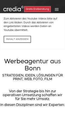 Vorschau der mobilen Webseite www.credia.de, credia communications GmbH