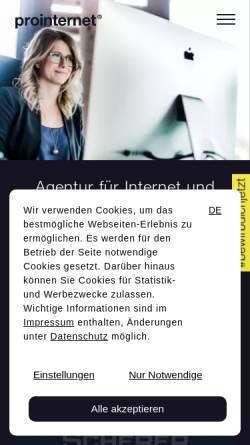 Vorschau der mobilen Webseite www.prointernet.de, Pro Internet GmbH & Co. KG