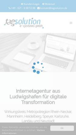 Vorschau der mobilen Webseite www.tagsolution.de, Tagsolution e-systems GmbH