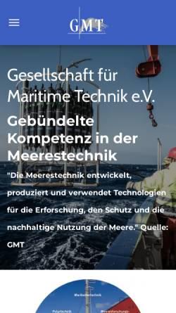 Vorschau der mobilen Webseite www.maritime-technik.de, GMT Gesellschaft für Maritime Technik e.V.