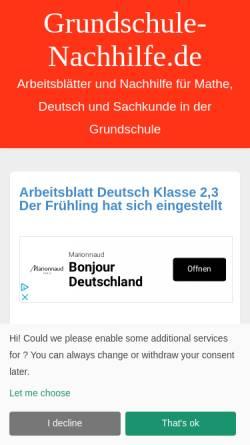 Vorschau der mobilen Webseite grundschule-nachhilfe.de, Nachhilfe in der Grundschule