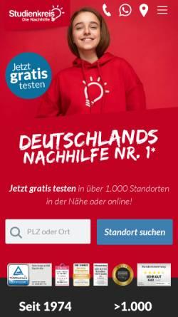 Vorschau der mobilen Webseite www.studienkreis.de, Studienkreis GmbH