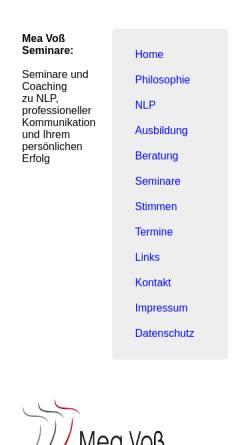 Vorschau der mobilen Webseite www.meavoss-nlp.de, Voß, Mea