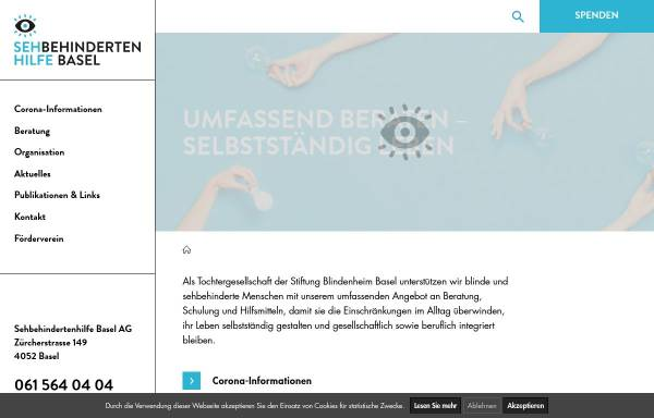 Vorschau von www.sehbehindertenhilfe.ch, Sehbehindertenhilfe Basel
