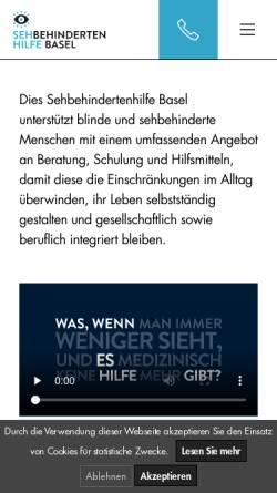 Vorschau der mobilen Webseite www.sehbehindertenhilfe.ch, Sehbehindertenhilfe Basel