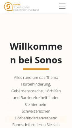 Vorschau der mobilen Webseite hoerbehindert.ch, Sonos Schweizerischer Hörbehindertenverband