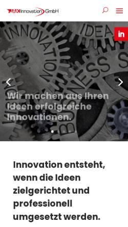 Vorschau der mobilen Webseite www.jak-innovation.ch, JAK Innovation GMBH