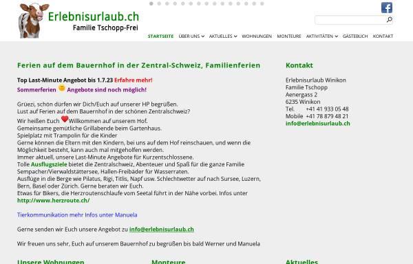 Vorschau von www.erlebnisurlaub.ch, Bauernhof Familie Werner und Manuela Tschopp