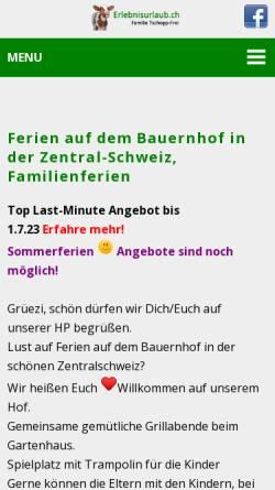 Vorschau der mobilen Webseite www.erlebnisurlaub.ch, Bauernhof Familie Werner und Manuela Tschopp