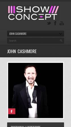 Vorschau der mobilen Webseite www.john-cashmore-entertainment.com, Cashmore, John