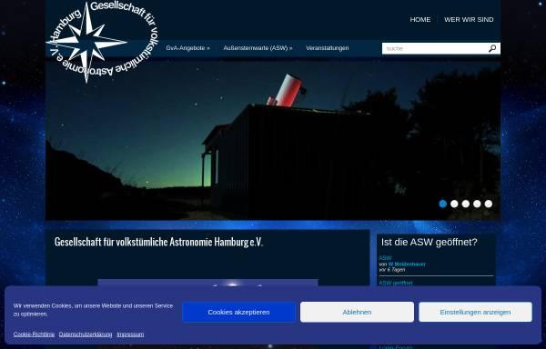 Vorschau von www.gva-hamburg.de, Gesellschaft für volkstümliche Astronomie Hamburg e.V.