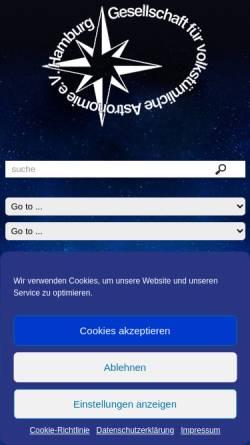 Vorschau der mobilen Webseite www.gva-hamburg.de, Gesellschaft für volkstümliche Astronomie Hamburg e.V.
