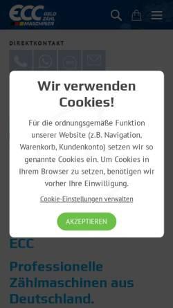 Vorschau der mobilen Webseite www.eurocounter.de, ECC-Gehrig Münzzähl- & Sortiermaschinen