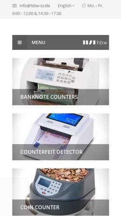 Vorschau der mobilen Webseite www.hbw-cs.de, Hbw cash solutions GmbH