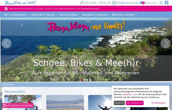 Vorschau von www.bta.de, B.T.A. motorrad reisen GmbH, Stuttgart