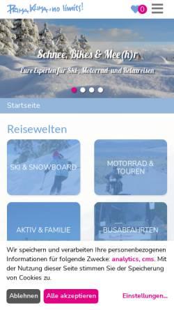 Vorschau der mobilen Webseite www.bta.de, B.T.A. motorrad reisen GmbH, Stuttgart