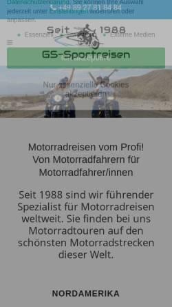 Vorschau der mobilen Webseite gs-sportreisen.de, GS Sportreisen