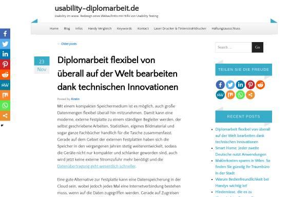 Vorschau von www.usability-diplomarbeit.de, Usability Diplomarbeit