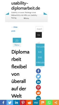 Vorschau der mobilen Webseite www.usability-diplomarbeit.de, Usability Diplomarbeit