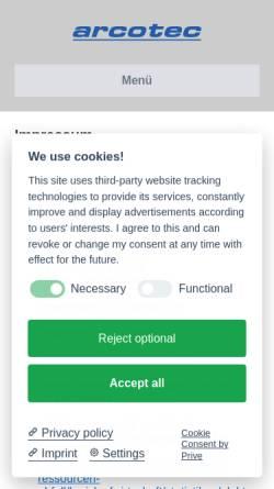 Vorschau der mobilen Webseite www.arcotec.de, arcotec Mobilfunktechnik GmbH