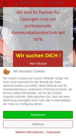 Vorschau der mobilen Webseite www.bara-funk.de, Bareither + Raisch Funktechnik GmbH & Co. KG