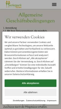 Vorschau der mobilen Webseite huckepack-reisen.de, Huckepack-Reisen