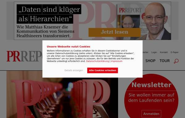 Vorschau von www.prreport.de, PR Report