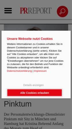 Vorschau der mobilen Webseite www.prreport.de, PR Report