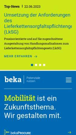 Vorschau der mobilen Webseite www.beka.de, BEKA Einkaufs- und Wirtschaftsgesellschaft für Verkehrsunternehmen mbH