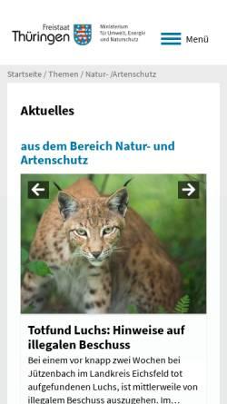 Vorschau der mobilen Webseite www.natur-thueringen.de, Nationale Naturlandschaften von Thüringen