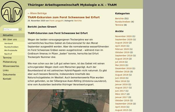 Vorschau von www.tham-thueringen.de, Thüringer Arbeitsgemeinschaft für Mykologie