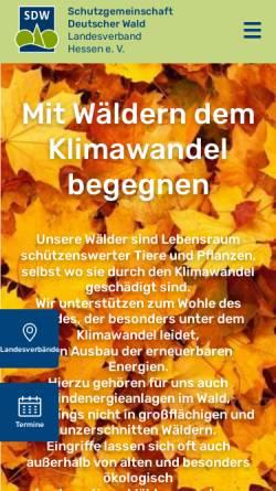 Vorschau der mobilen Webseite sdwhessen.de, Schutzgemeinschaft Deutscher Wald - Landesverband Hessen Landesverband Hessen e.V.
