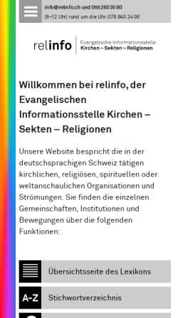 Vorschau der mobilen Webseite www.relinfo.ch, Evangelische Informationsstelle Kirchen - Sekten - Religionen