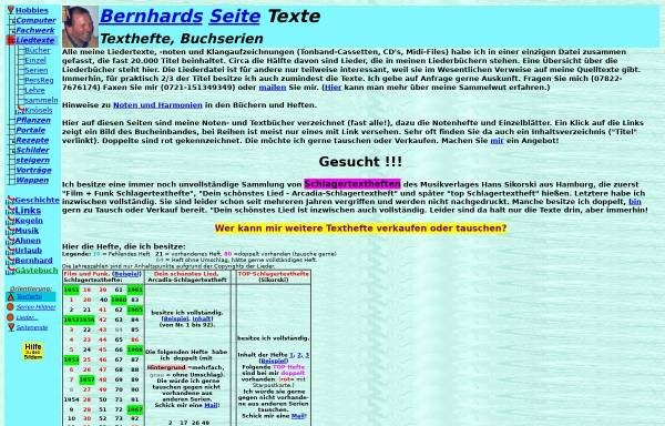 Vorschau von www.brawer.de, Bernhard's Liederbücher und Schlagerhefte