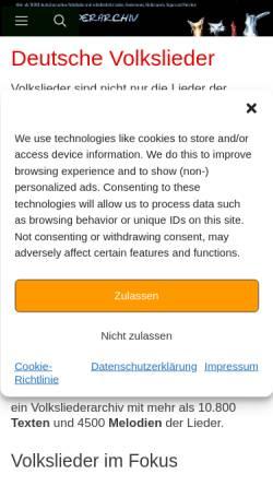 Vorschau der mobilen Webseite www.volksliederarchiv.de, Deutsches Volksliederarchiv
