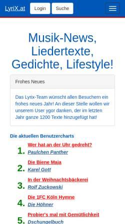 Vorschau der mobilen Webseite www.lyrix.at, LyriX.at