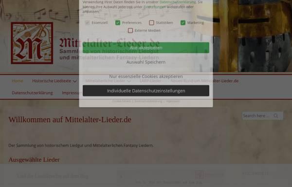 Vorschau von mittelalter-lieder.de, Mittelalter-Lieder.de