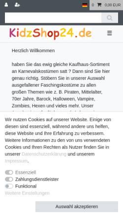 Vorschau der mobilen Webseite www.faschingskostuem-karneval.de, Kidzshop24, Birgit Schützle