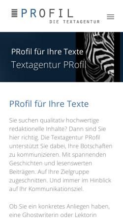 Vorschau der mobilen Webseite www.profil-text.de, Profil Textagentur - Anne Rosche