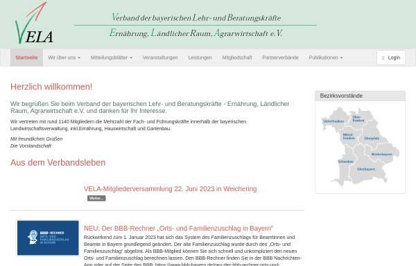 Vorschau von www.vela-bayern.de, Verband der bayerischen Lehr- und Beratungskräfte im höheren Dienst - Ernährung, Ländlicher Raum, Agrarwirtschaft e.V.