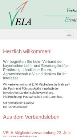 Vorschau der mobilen Webseite www.vela-bayern.de, Verband der bayerischen Lehr- und Beratungskräfte im höheren Dienst - Ernährung, Ländlicher Raum, Agrarwirtschaft e.V.