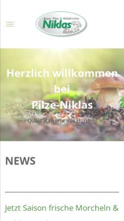 Vorschau der mobilen Webseite www.pilze-niklas.de, Uwe Niklas GmbH