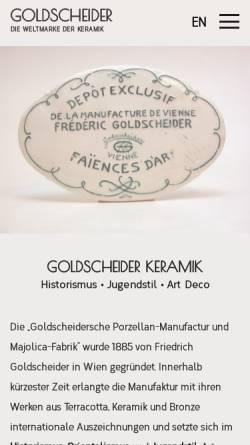 Vorschau der mobilen Webseite www.goldscheider.de, Goldscheider Keramik