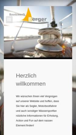 Vorschau der mobilen Webseite www.bootswerftberger.ch, BWB Bootswerft Wassersport Berger