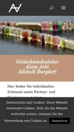 Vorschau der mobilen Webseite www.goldschmied-aebi.ch, Goldschmied Alain Aebi