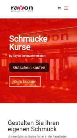 Vorschau der mobilen Webseite www.rayon-schmuckwerkstatt.de, rayon Schmuckwerkstatt (Goldschmiede in Magdeburg)