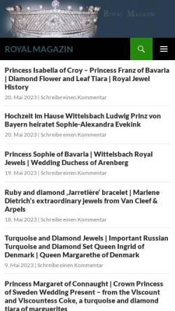Vorschau der mobilen Webseite www.royal-magazin.de, Schmuck der Königshäuser