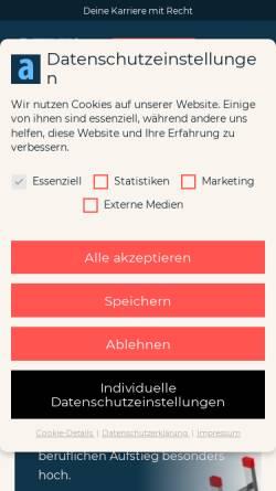 Vorschau der mobilen Webseite www.azur-online.de, Azur: Anwälte der Zukunft im Rechtsmarkt