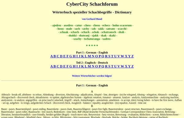 Vorschau von gerhard-hund.de, Wörterbuch spezieller Schachbegriffe