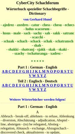Vorschau der mobilen Webseite gerhard-hund.de, Wörterbuch spezieller Schachbegriffe